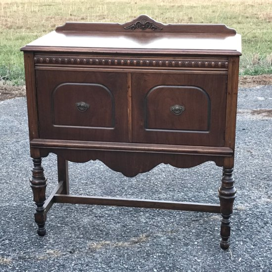 Antique Wooden Small Cabinet Buffet w/Carved Appliqué & Stretcher Base by Ebert Furniture Company