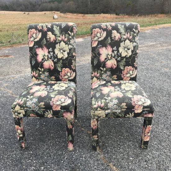 Pair of Highback Floral Parsons Chairs