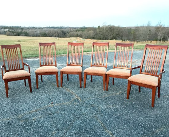 Tall Slat Back Mission Style Dining Chairs w/Upholstered Seats