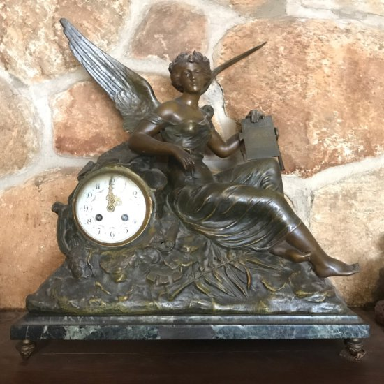 "19th Century French Bronzed Figural Mantle Clock - ""L'Histoire Par X Raphanel"" on Marble Base w/Key"