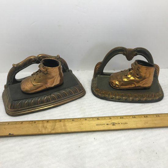 Pair of 1950's Copper Baby Shoes Bookends