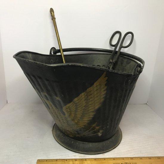 Vintage Metal Ash Bucket w/Gold Eagle & Accessories