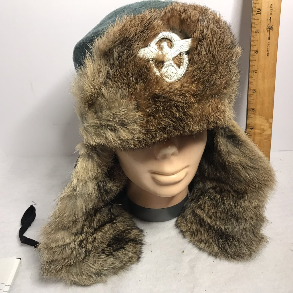 RARE ORIGINAL - WWII German Fur Lined Nazi Police Fur Cap Ushanka - Spoils of War