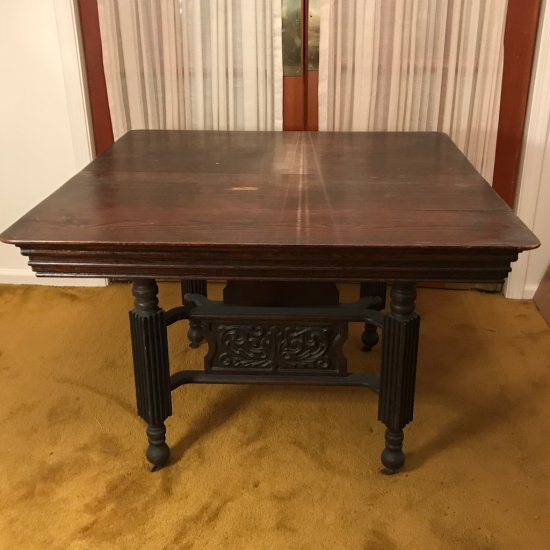 Antique Square Wooden Table w/Hand Carved Accent on Casters