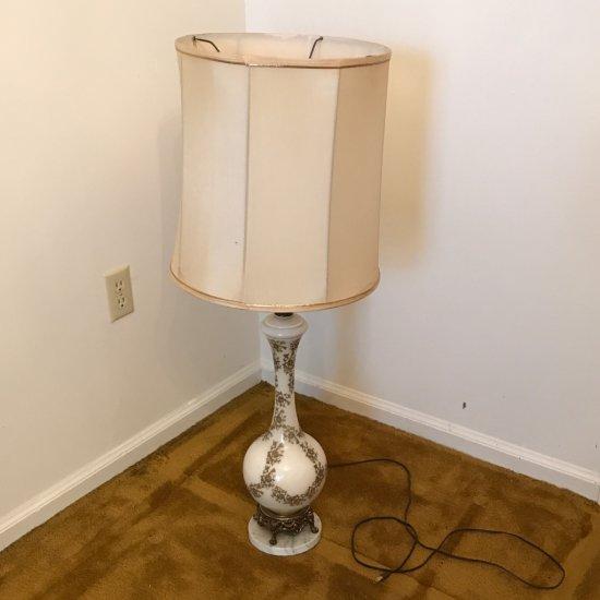 Tall Porcelain Vintage Lamp w/Marble Base