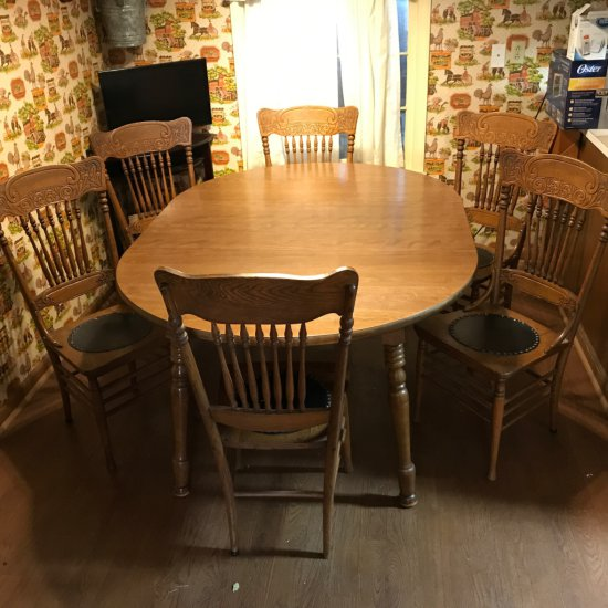 Set of 6 Spindle Pressed Back Chairs with Leather Seats and Mid-Century Modern Dining Table