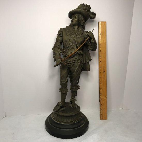 Vintage Heavy Spelter Musketeer Sculpture