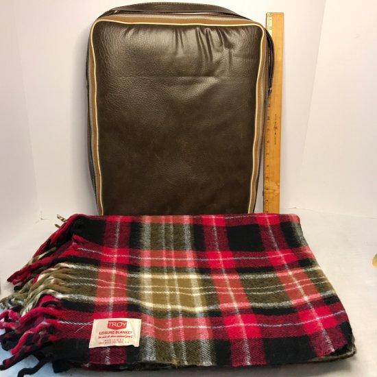 Vintage Troy Leisure Wool Plaid Blanket w/Fringe & Zip-Up Bag