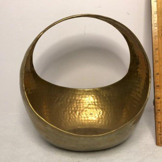 Vintage Hammered Brass Basket - Made in India