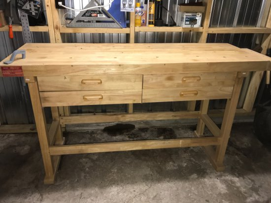 4 Drawer Wooden Work Bench w/Side Vice & Tons of Tools