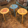 Lot of 3 Vintage Metal Table/Stools