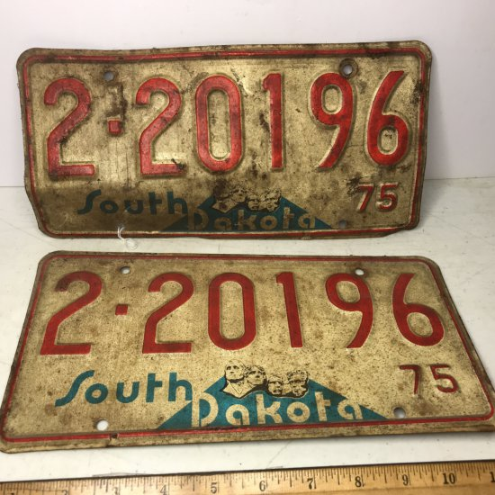 Pair of 1975 South Dakota License Plates for Front & Back