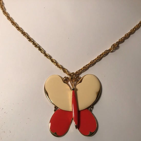"""Vintage Large Enamel Butterfly Pendant on Gold tone Chain Signed """"Art"""""""