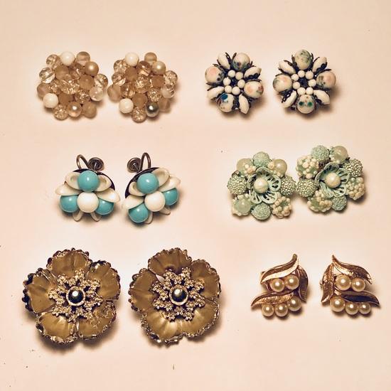 Lot of Vintage Western Germany, Trifari & Coro Clip-on Earrings