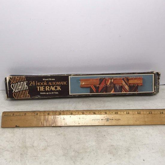 Vintage Swank 24 Hook Automatic Tie Rack in Original Box