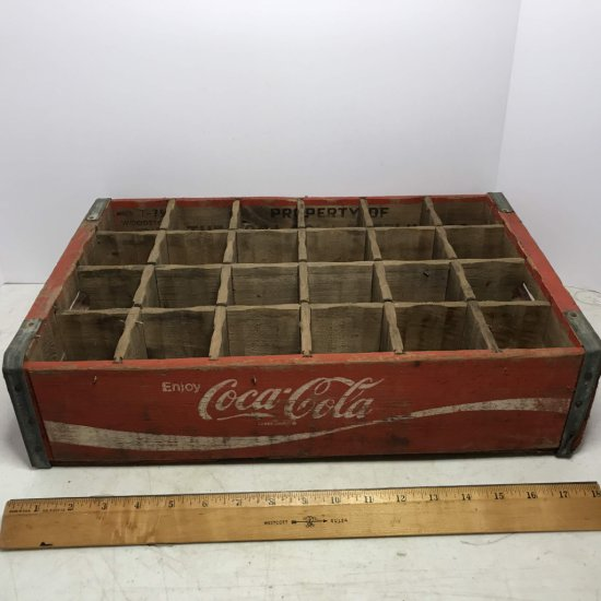 """Vintage Wooden Divided """"Coca-Cola"""" Advertisement Crate"""