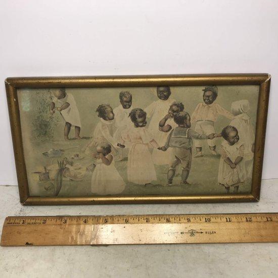 Vintage Black Americana Print in Frame