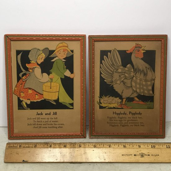 Pair of Vintage Children's Nursery Rhyme Prints in Frames