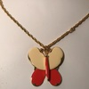 "Vintage Large Enamel Butterfly Pendant on Gold tone Chain Signed ""Art"""