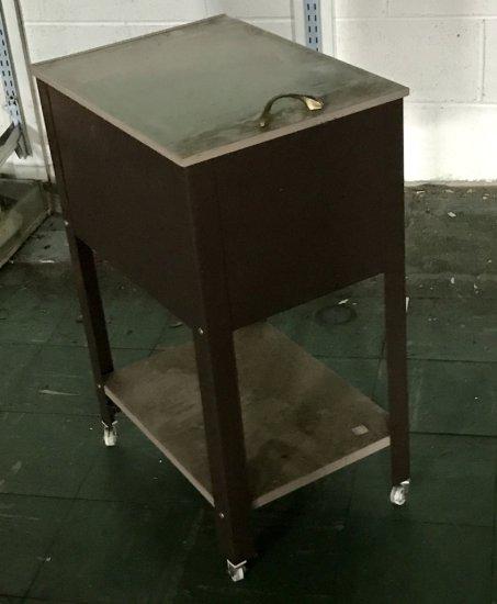 Rolling Vintage Metal File Cabinet