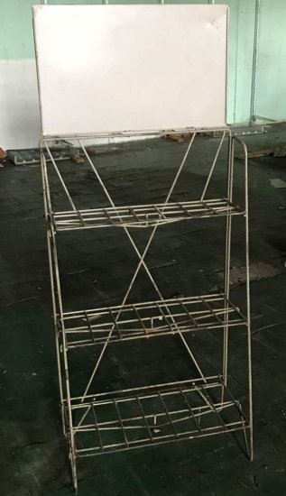 2-Tier Metal Display Rack with Attached Sign Holder