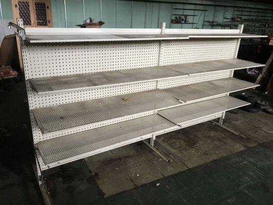 Vintage Double Sided Metal Shelving with Peg Board Back