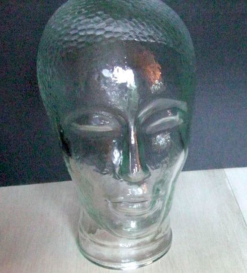 Vintage 70's Clear Glass Mannequin Head - (Female) for Headphone, Wig, Hat or Cap