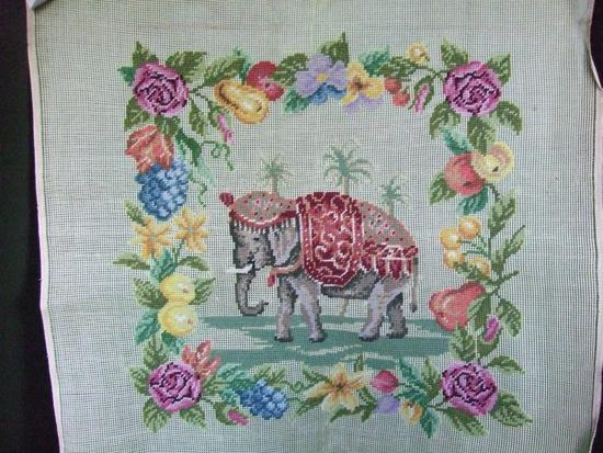 Vintage Preworked Needlepoint. A Majestic Elephant Surrounded by Fruits and Flowers and Palm Trees