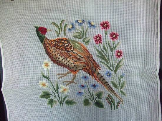 Vintage Preworked Needlepoint. A Pheasant with Flowers HAND STITCHED in Gros Point