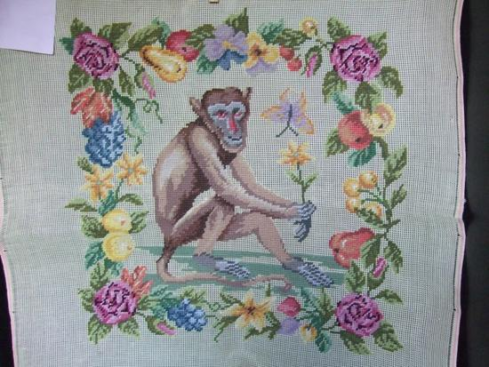 Vintage Preworked Needlepoint. A Monkey Surrounded by Flowers HAND STITCHED in Gros Point