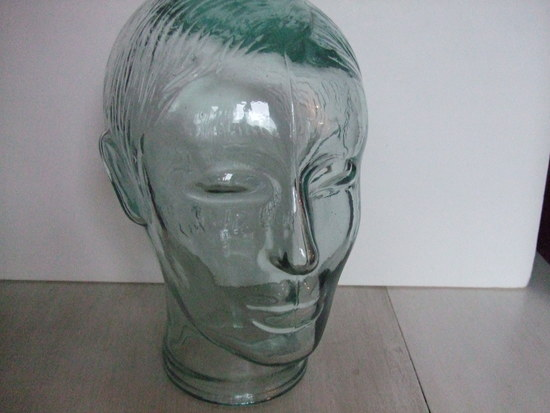 Vintage Green Glass Mannequin Head Display