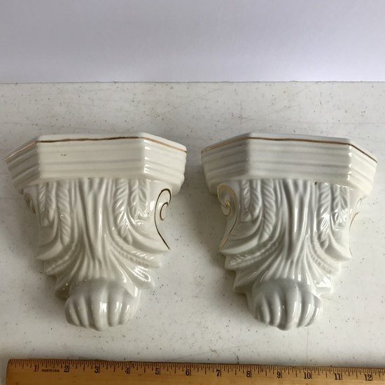 Pair of Porcelain Wall Pockets
