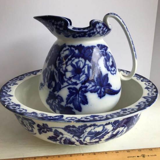 "Flow Blue ""Christmas Roses"" W. Adams & Co. Wash Pitcher & Basin"