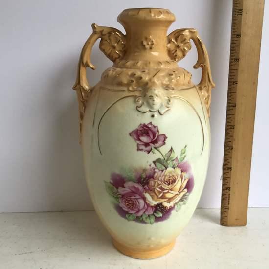 Double Handled Vienna Porcelain Floral Austrian Vase
