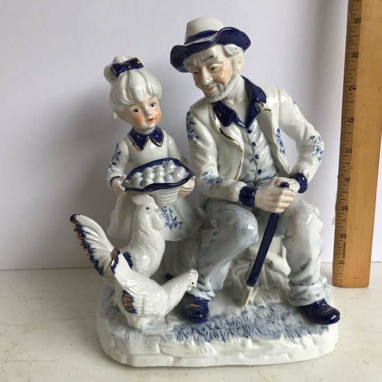 Vintage FEI Porcelain Blue & White Figurine Man with Girl & Chickens