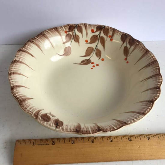 Hand Painted Vintage Pottery Serving Bowl