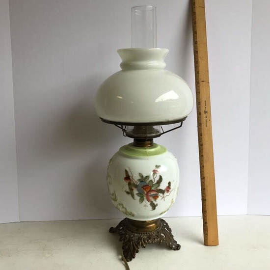 Vintage Floral Hand Painted Parlor Lamp with Ornate Brass Base