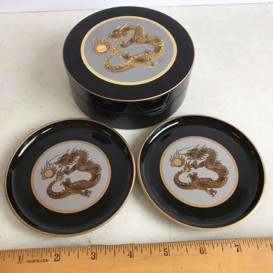 Otagiri Lacquerware Dragon Coaster Set in Lidded Case
