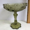 Vintage FENTON Cabbage Rose Green Glass Compote with Scalloped Edges with Original Foil Label