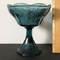 Vintage Blue Pedestal Bowl with Embossed Grape Design