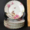 Set of 6 Floral Dessert Plates by Haviland & Co. Limoges with Gilt Edges