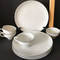 Set of 4 Lunch Plates & Cups with Silver Edging