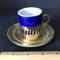 Brass & Porcelain Teacup & Saucer