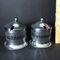 Pair of Vintage Stainless & Cobalt Condiment Jars