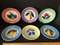 Set of 6 Milk Glass Plates with Fruit Design