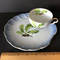 Vintage Shell Shaped Dish with Acorns & Leaf Design & Matching Cup - Made in Japan