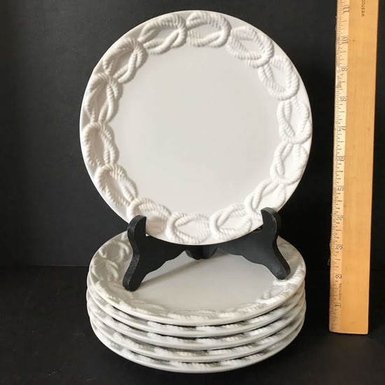 Set of 6 Pottery Barn Lunch Plates with Rope Pretzel Design
