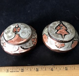 Pair of Etched Copper Trinket Boxes