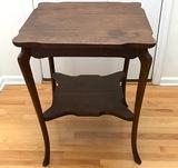 Tall Antique 2-Tier Oak Side Table