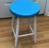 Small Wooden Stool Painted White with Blue Seat